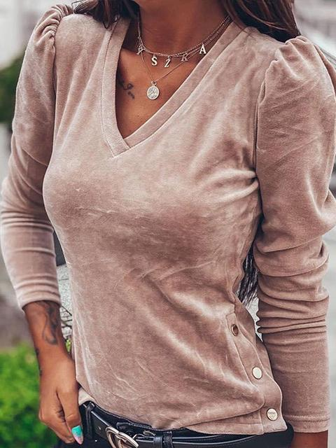 Side Button Slim V-neck Top