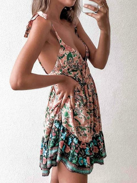 Sling Print V Neck Mini Dress