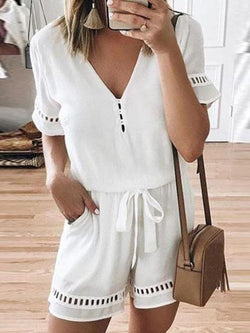 Soild Color Hollow-out Lace-up Romper