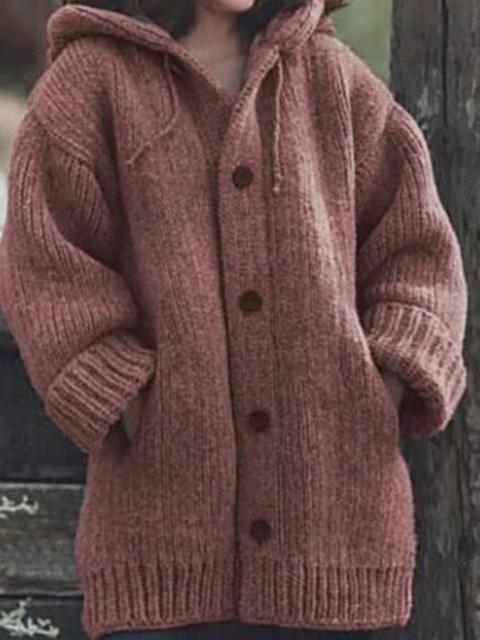 Solid Chunky Knit Hooded Coat