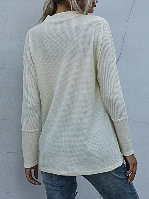 Solid Color Hollow Out Long Sleeve Top