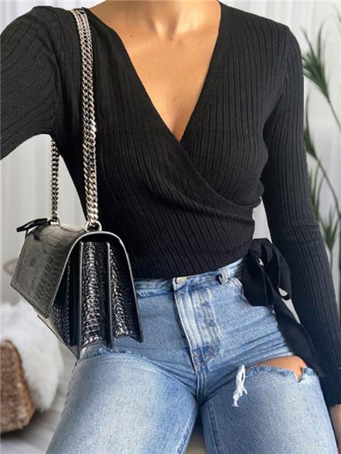 Solid Color Long Sleeve V Neck Lace-up Sweater