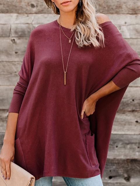 Solid Color Loose Pollover With Pockets