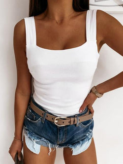 Solid Color Low-cut Straps Slim Fit Top