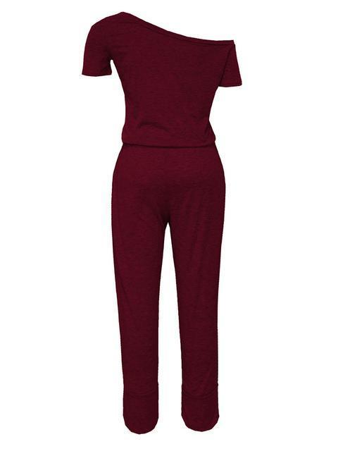 Solid Color Off Shoulder Jumpsuit