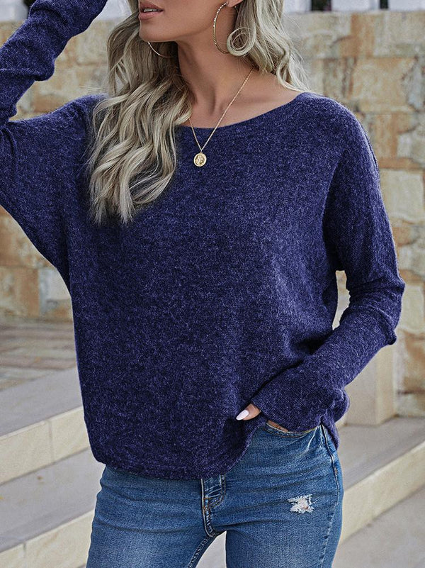 Solid Color One Shoulder Long Sleeve Top