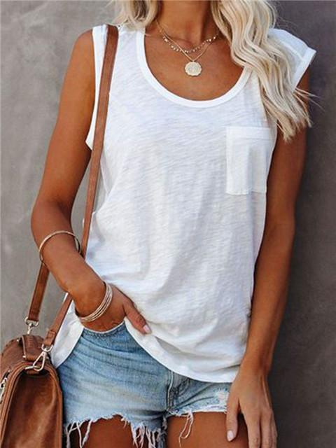 Solid Color Round Neck Patch Pocket Tank Top