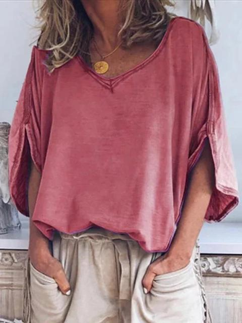 Solid Color Sleeves Split Loose T-shirt Top