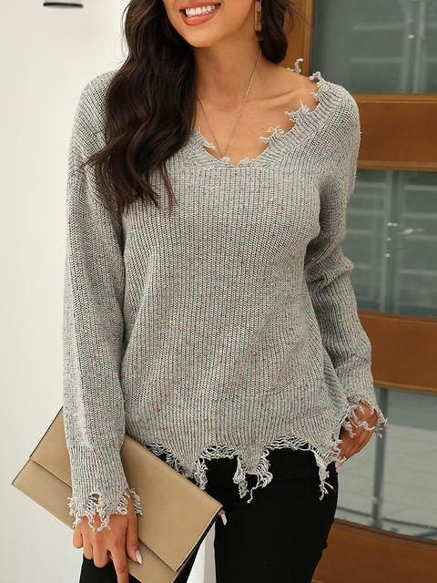 Solid Color V-neck Pullover Sweater