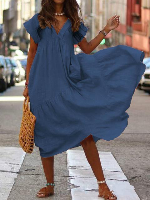 Solid Color V neck Irregular Dress