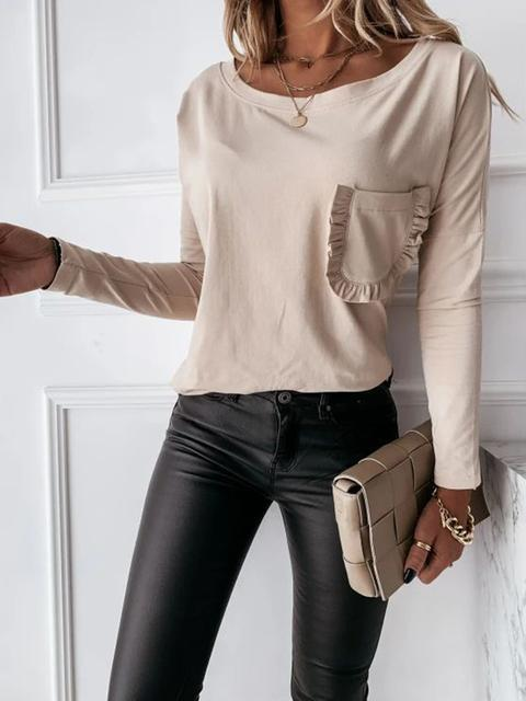Solid Lace Pocket Long-sleeved T-shirt Top