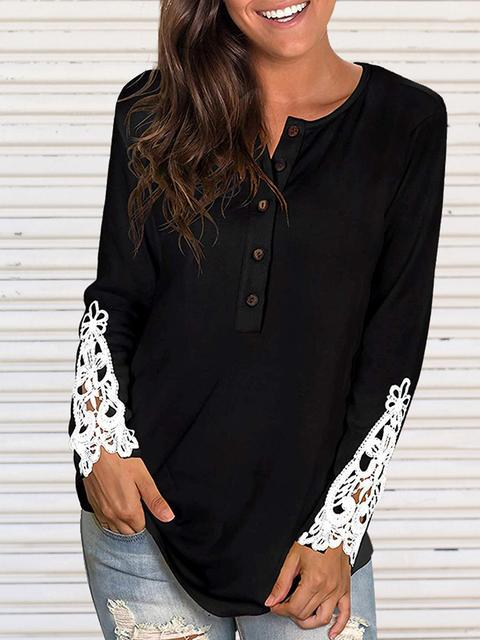 Solid Lace Sleeve Round Neck T-shirt Top