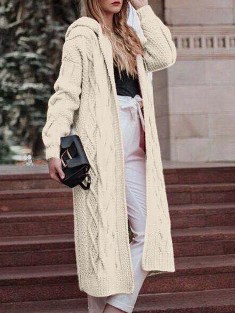 Solid Long Sleeve Hooded Sweaters Coat