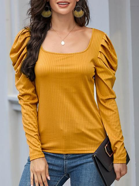 Solid Square Neck Puff Long Sleeve Top