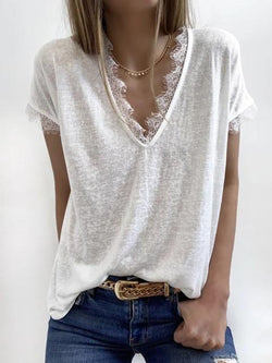 Solid V Neck Lace Tunci Tee