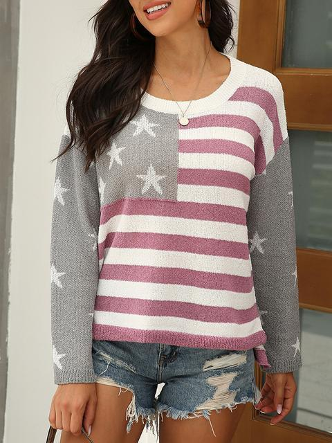 Star Stripe Round Neck Long Sleeve Sweater