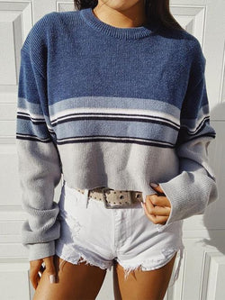 Striped Contrast Short Knit Sweater