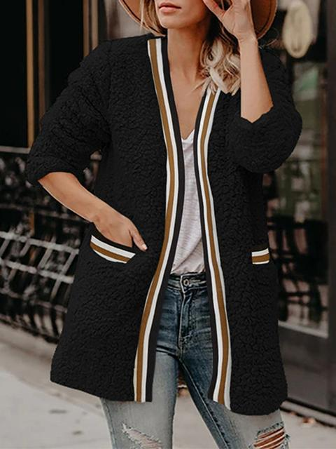 Striped Patchwork Plush Mid-length Coat