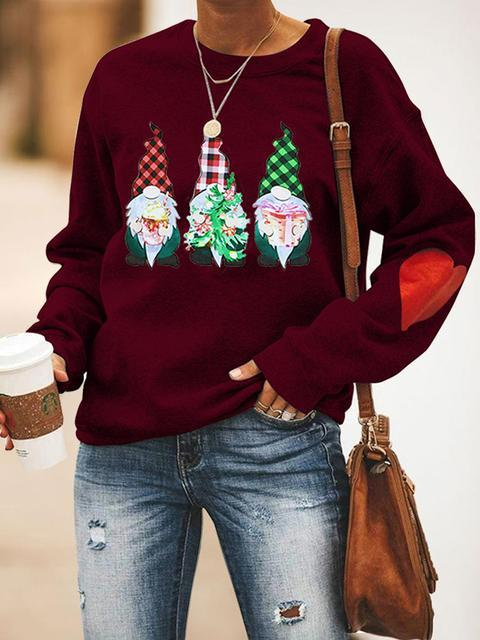 Three Santas Print Round Neck Long Sleeve Top