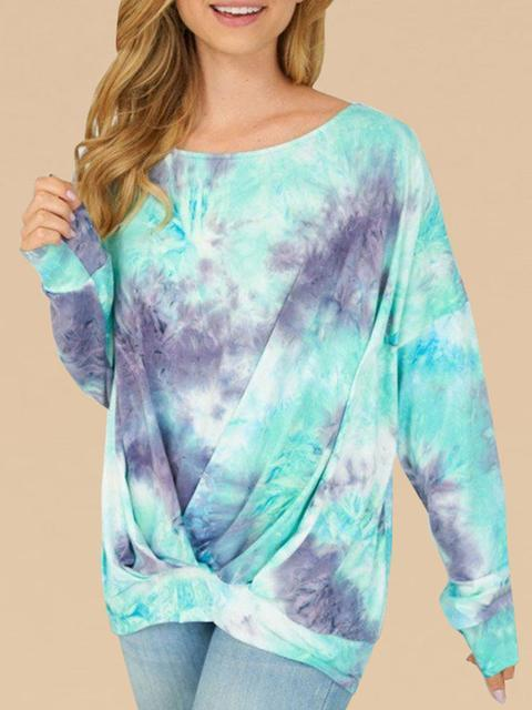 Tie-dye Pattern Print Long Sleeved Top