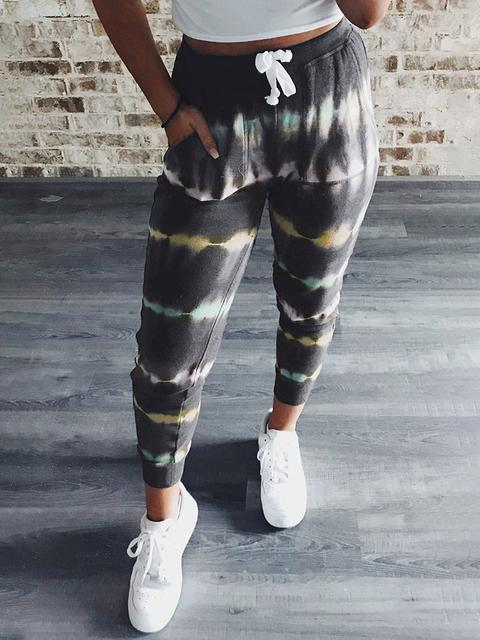 Tie-dye Print Drawstring Slim Trousers