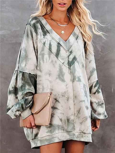 Tie-dye Print Long Sleeve V-neck Loose Pullover
