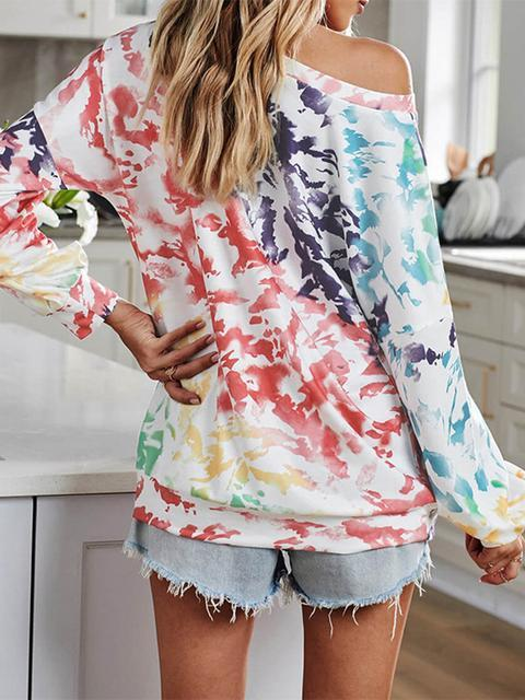 Tie-dye Printe One Shoulder Long Sleeve Top