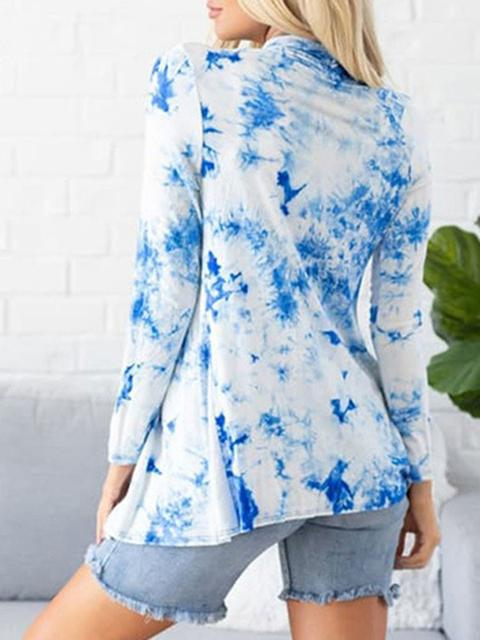 Tie-dye Printed Long Sleeved Cardigan