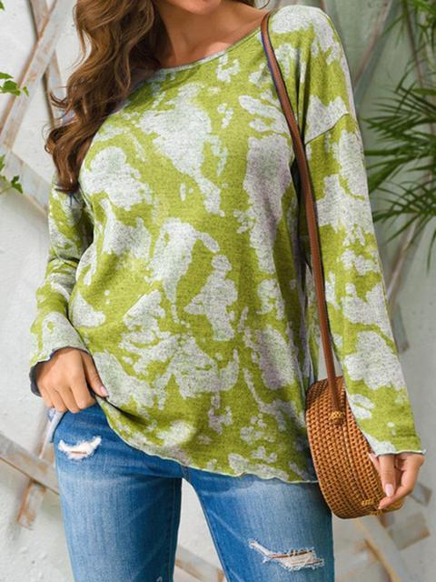 Tie-dye Round Neck Long Sleeve Casual Top
