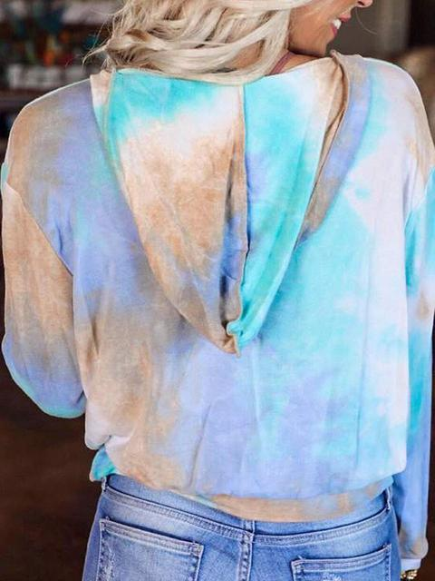 Tie-dye V Neck Pocket Hooded Sweatshirt
