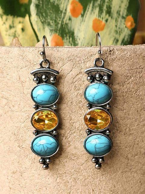 Turquoise Long Pendant Earrings