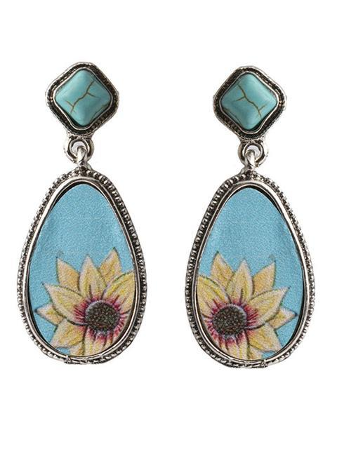 Turquoise Water Drop Shaped Sunflower Earrings