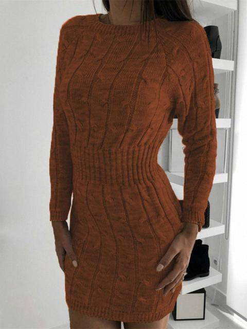 Twist Slim Sweater Mini Dress