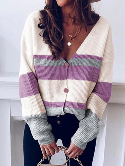 V-neck Button Stripe Sweater Cardigan