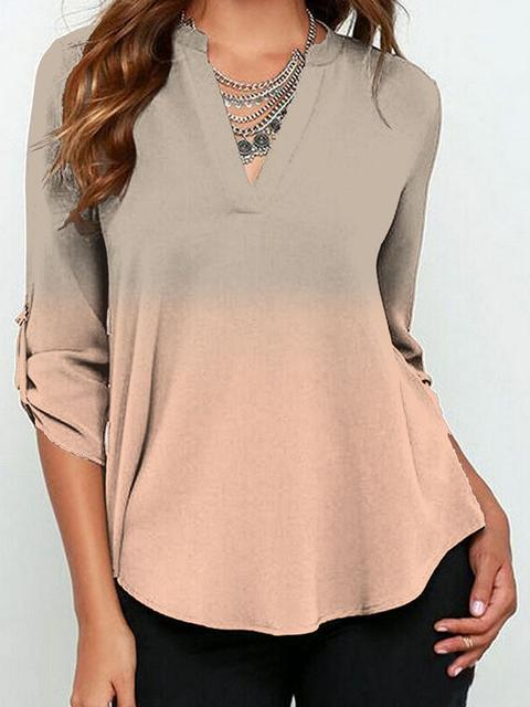 V-neck Long Sleeved Gradient Print Top
