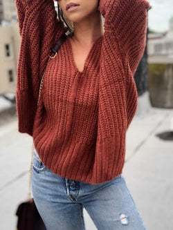 V-neck Side Slit Loose Knitted Top