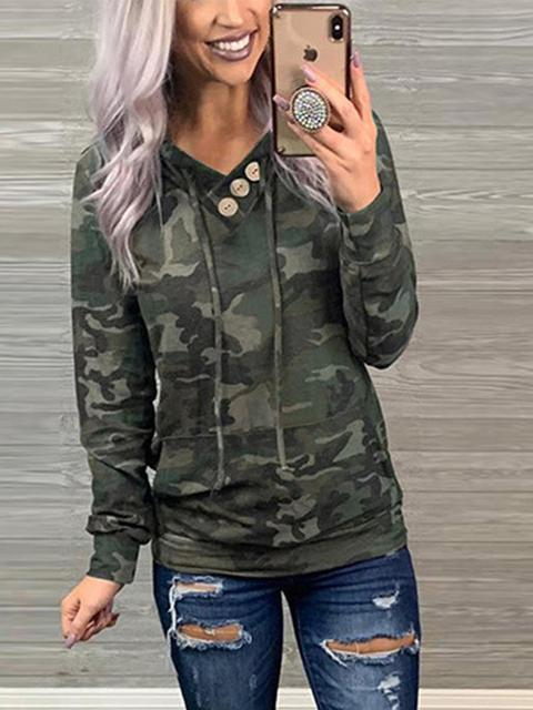 V Neck Long Sleeve Hooded Sweatshirt