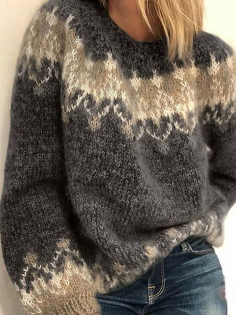 Vintage Knitted Jacquard Sweater