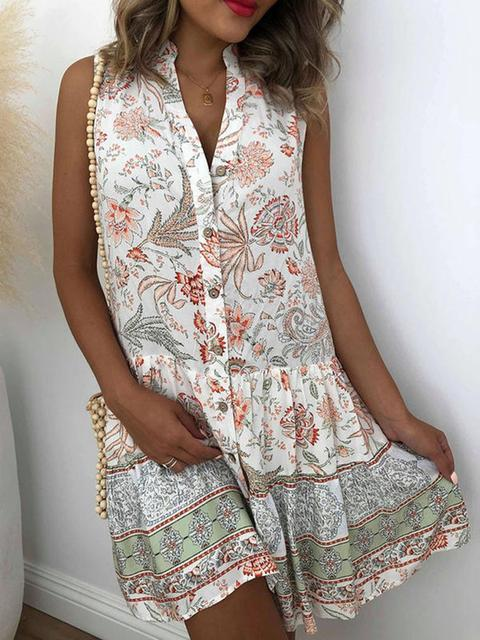 Vintage Print Loose Sleeveless Shirt Dress