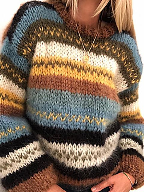 Vintage Striped Contrasting Knit Sweater