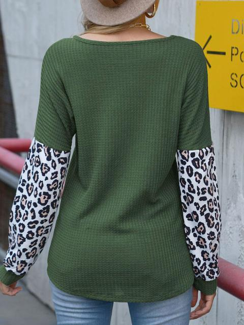 Waffle Leopard Print Patchwork Top