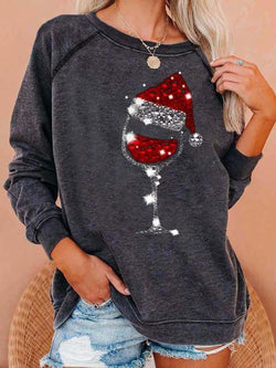 Wineglass Christmas Hat Print Pullover Top
