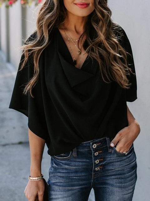 Wrap V Neck Draped Front Blouses