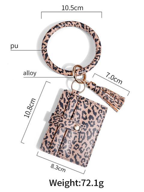 Leopard Tassel Leather Bracelet Keychain With Card Bag