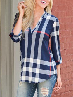 Casual Printed Gingham 3/4 Sleeve V neck Blouse