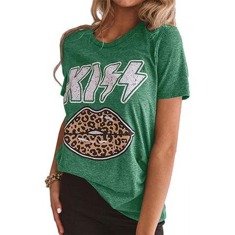 Leopard Lips Kiss Print T-shirt