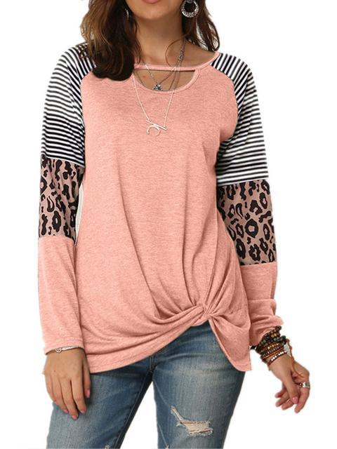 leopard-print-striped-stitching-knoted-t-shirt-zsy3nrt