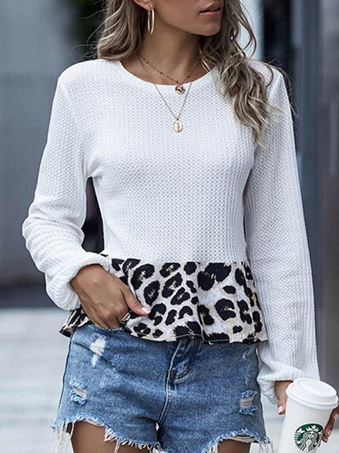 Leopard Stitched Print Casual Sweater