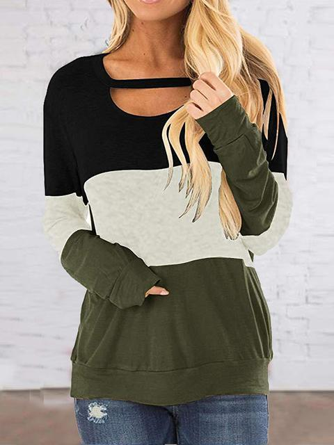 Color Block Pattern Pullover Sweatshirt
