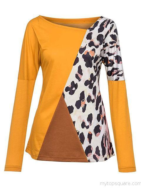 Color Block Leopard Patchwork Tops